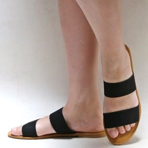 New Black Two Band Open Toe Slip On Sandal Slides